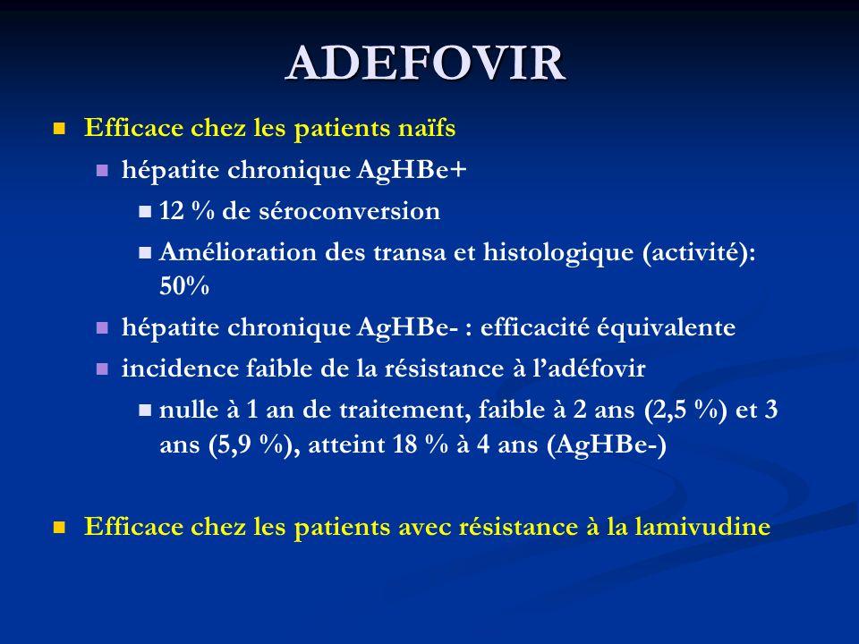 ADEFOVIR Efficace chez les patients naïfs hépatite chronique AgHBe+