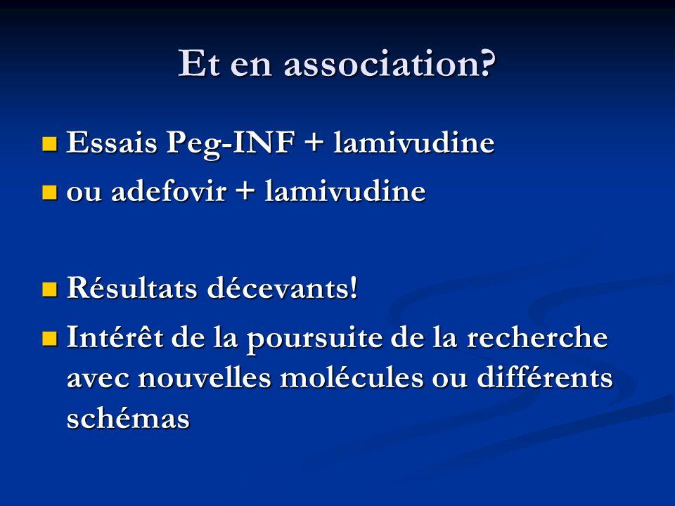 Et en association Essais Peg-INF + lamivudine