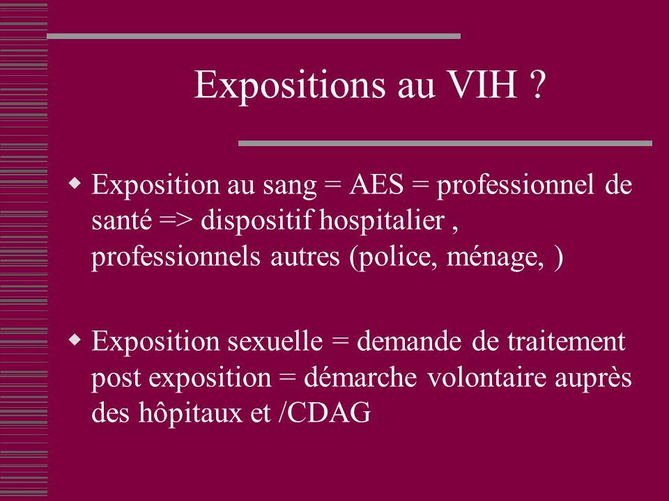 Expositions au VIH Exposition au sang = AES = professionnel de santé => dispositif hospitalier , professionnels autres (police, ménage, )