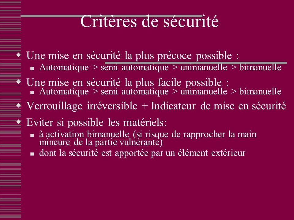 Critères de sécurité Une mise en sécurité la plus précoce possible :