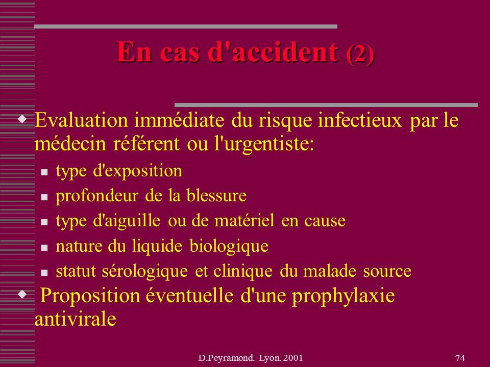 En cas d accident (2) Evaluation immédiate du risque infectieux par le médecin référent ou l urgentiste: