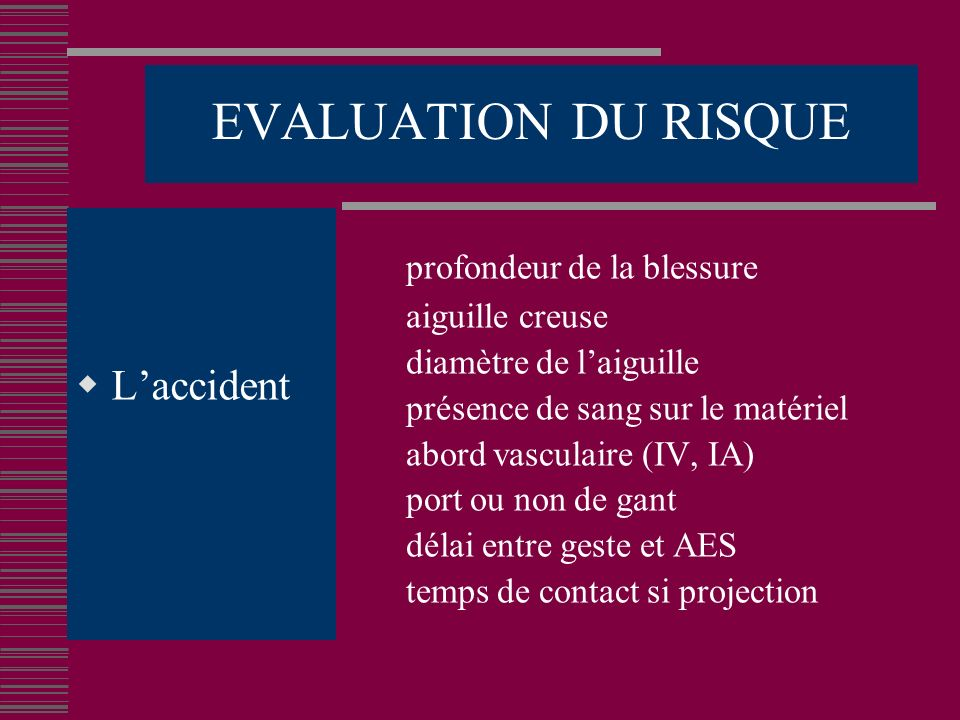 EVALUATION DU RISQUE L'accident profondeur de la blessure