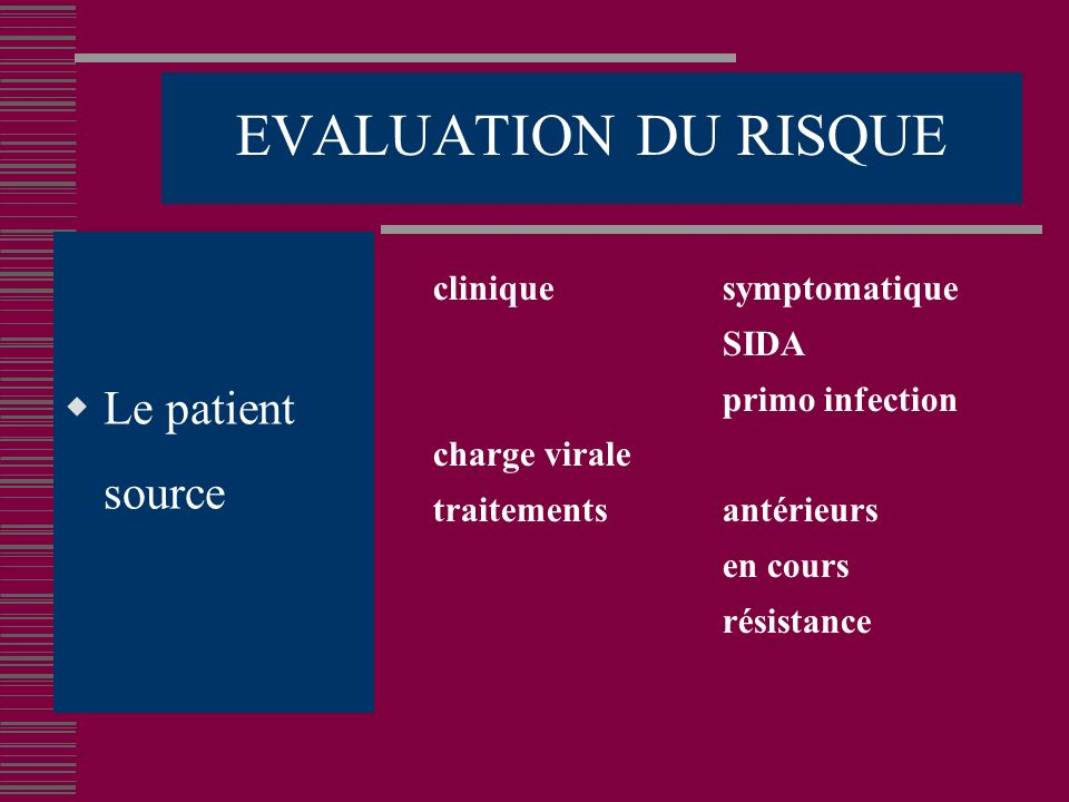 EVALUATION DU RISQUE Le patient source clinique symptomatique SIDA