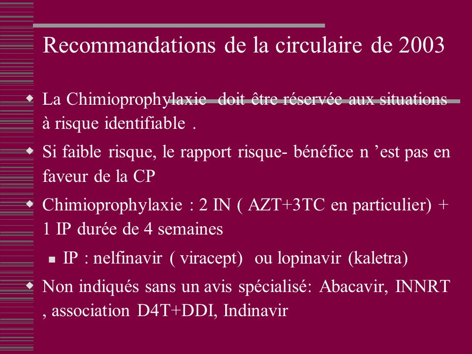 Recommandations de la circulaire de 2003