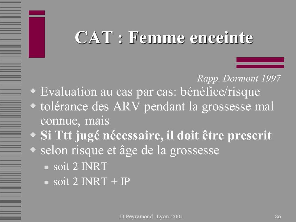 CAT : Femme enceinte Evaluation au cas par cas: bénéfice/risque