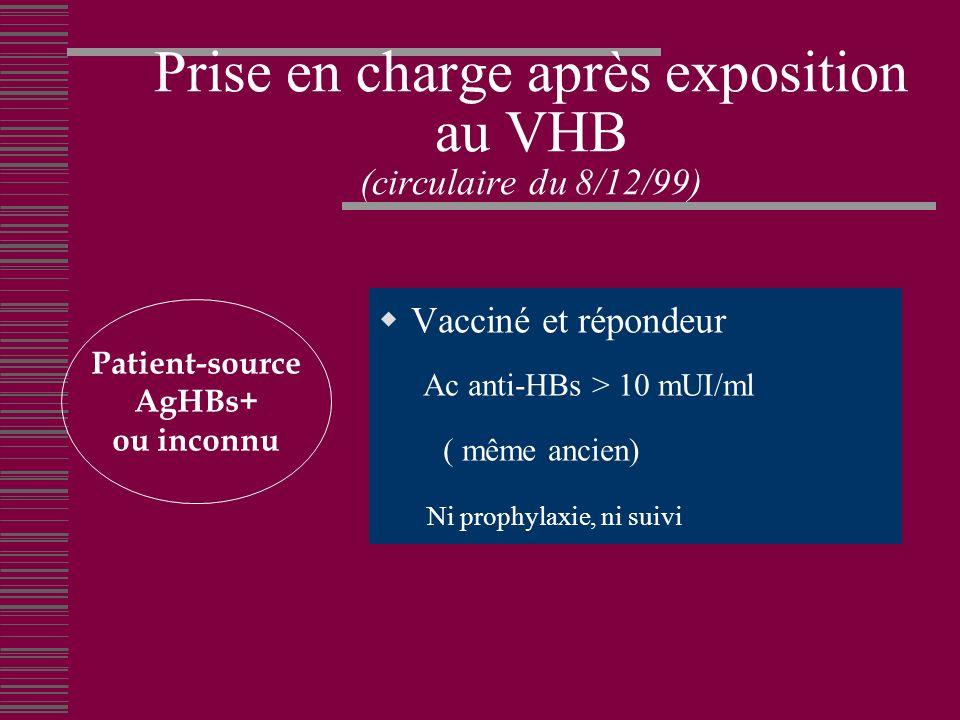 Prise en charge après exposition au VHB (circulaire du 8/12/99)