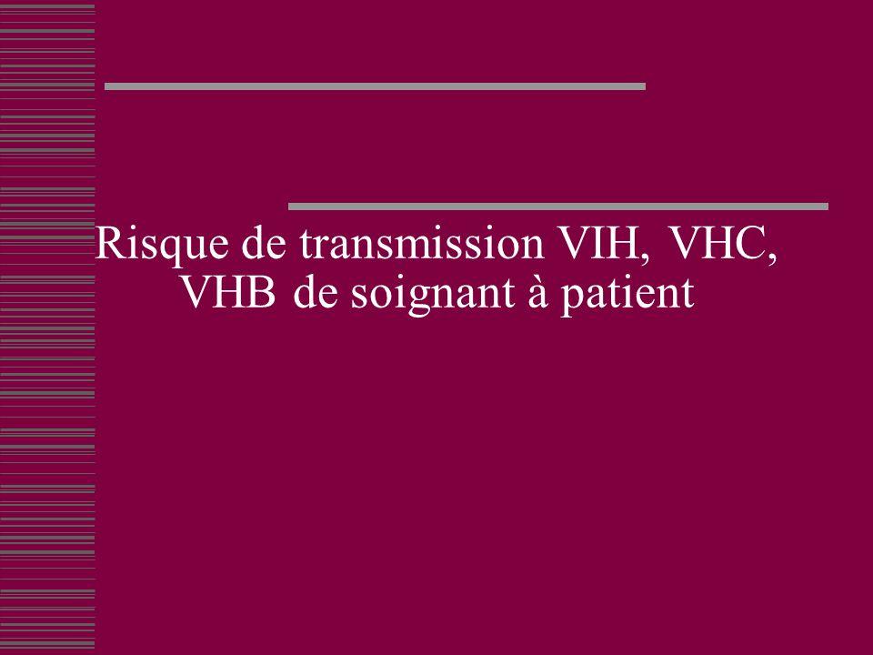Risque de transmission VIH, VHC, VHB de soignant à patient