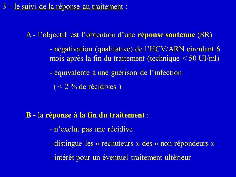 3 – le suivi de la réponse au traitement :