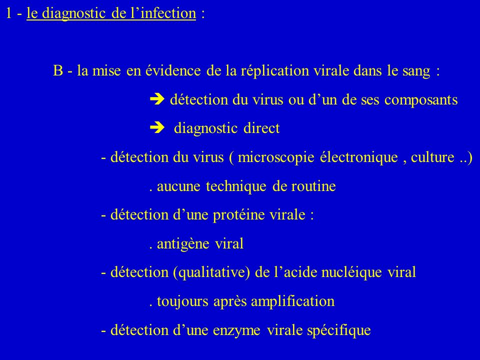 1 - le diagnostic de l'infection :