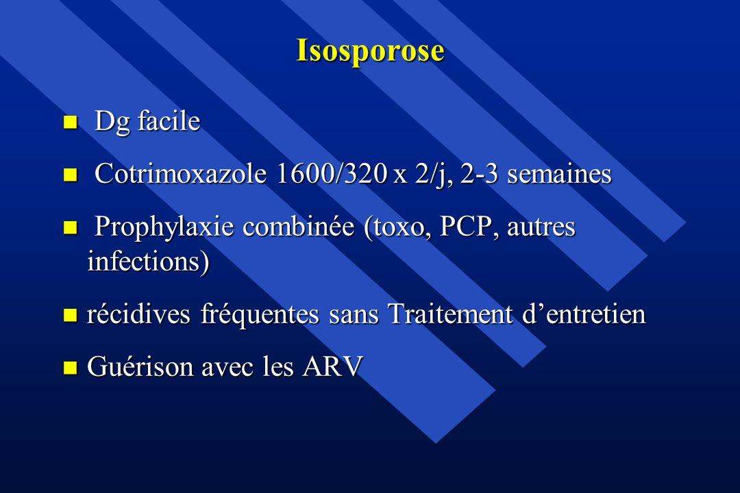 Isosporose Dg facile Cotrimoxazole 1600/320 x 2/j, 2-3 semaines