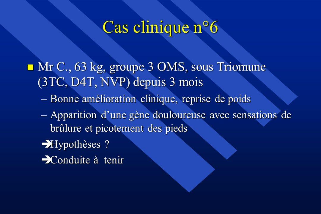 Cas clinique n°6Mr C., 63 kg, groupe 3 OMS, sous Triomune (3TC, D4T, NVP) depuis 3 mois. Bonne amélioration clinique, reprise de poids.