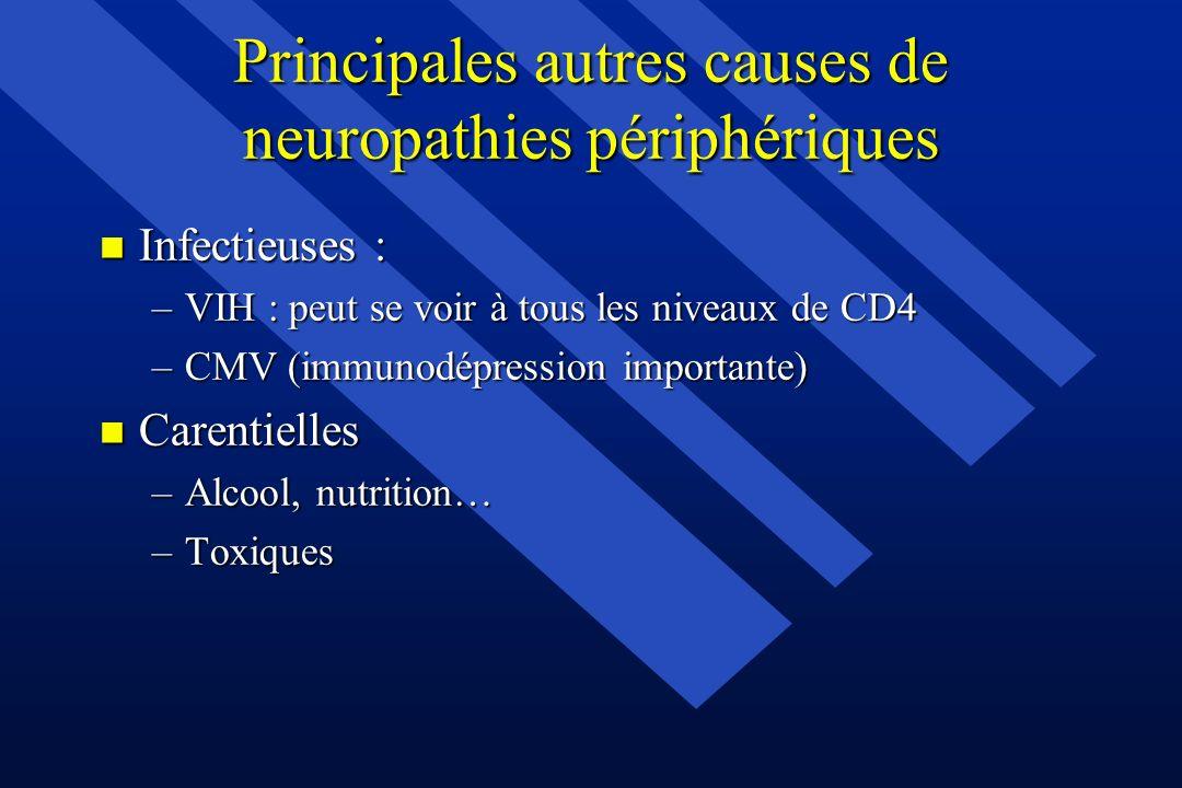 Principales autres causes de neuropathies périphériques