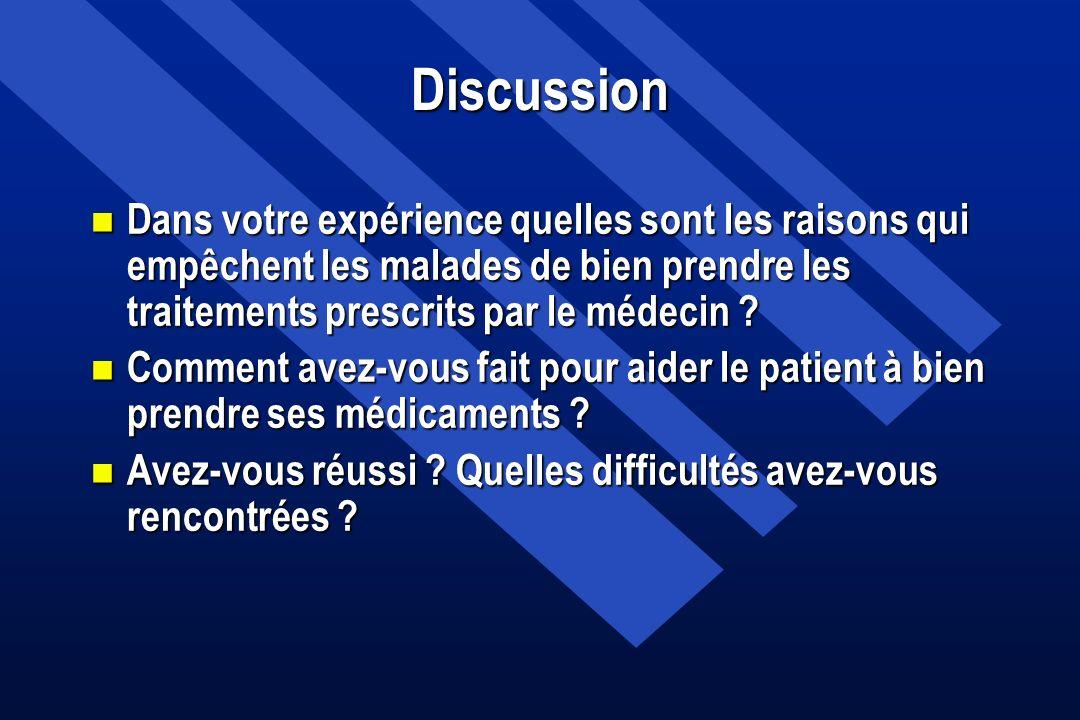 Discussion Dans votre expérience quelles sont les raisons qui empêchent les malades de bien prendre les traitements prescrits par le médecin