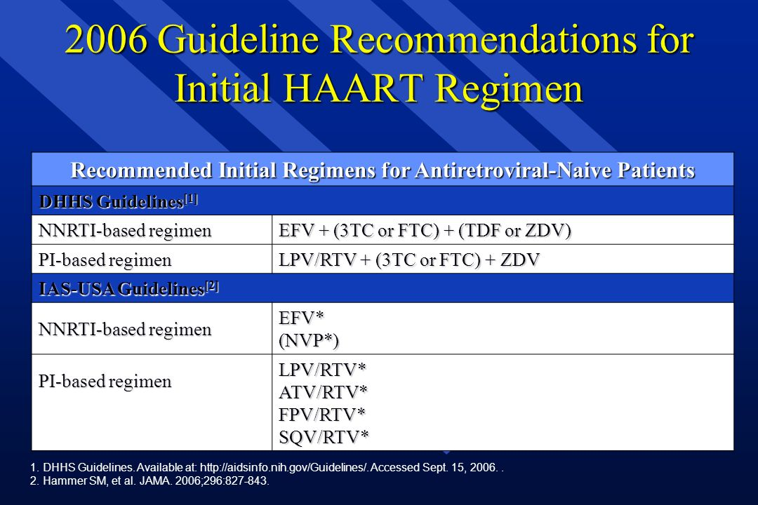 2006 Guideline Recommendations for Initial HAART Regimen