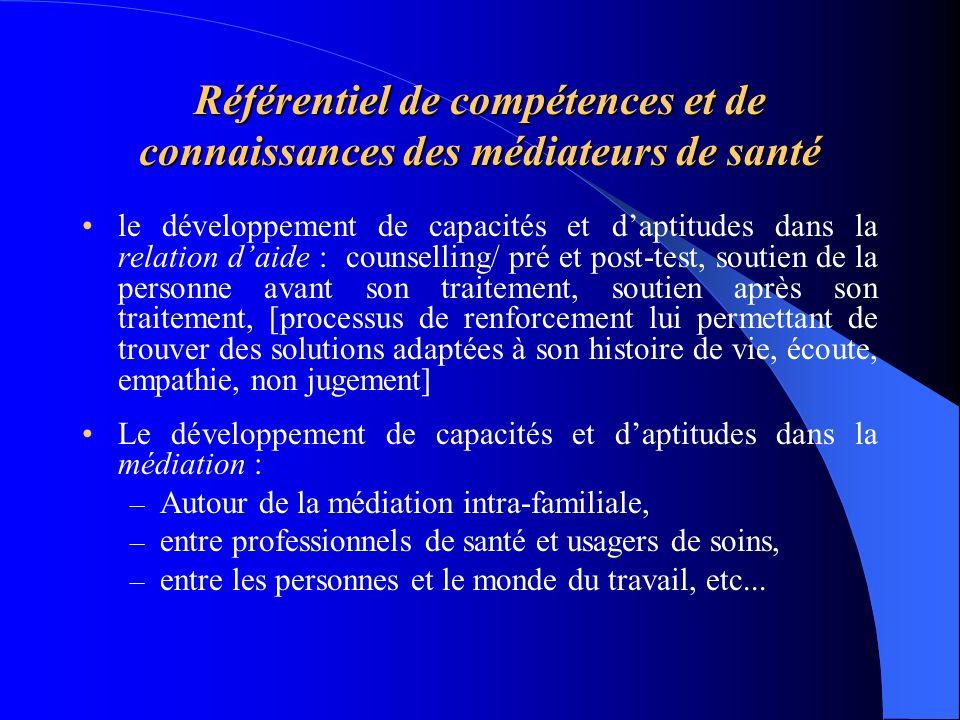 Référentiel de compétences et de connaissances des médiateurs de santé