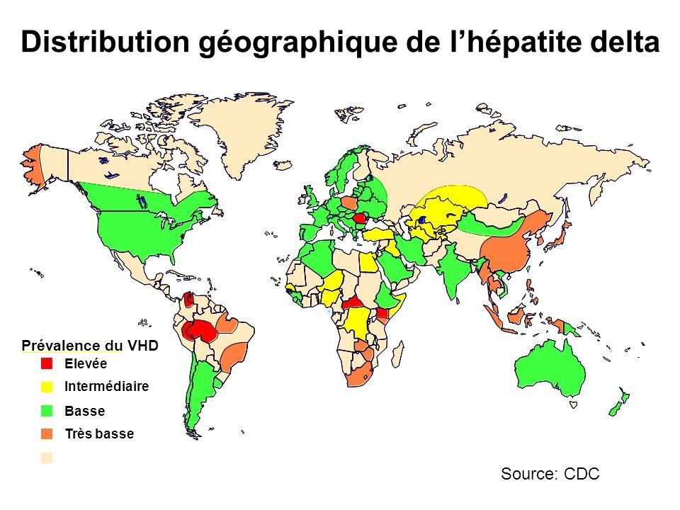 Distribution géographique de l'hépatite delta