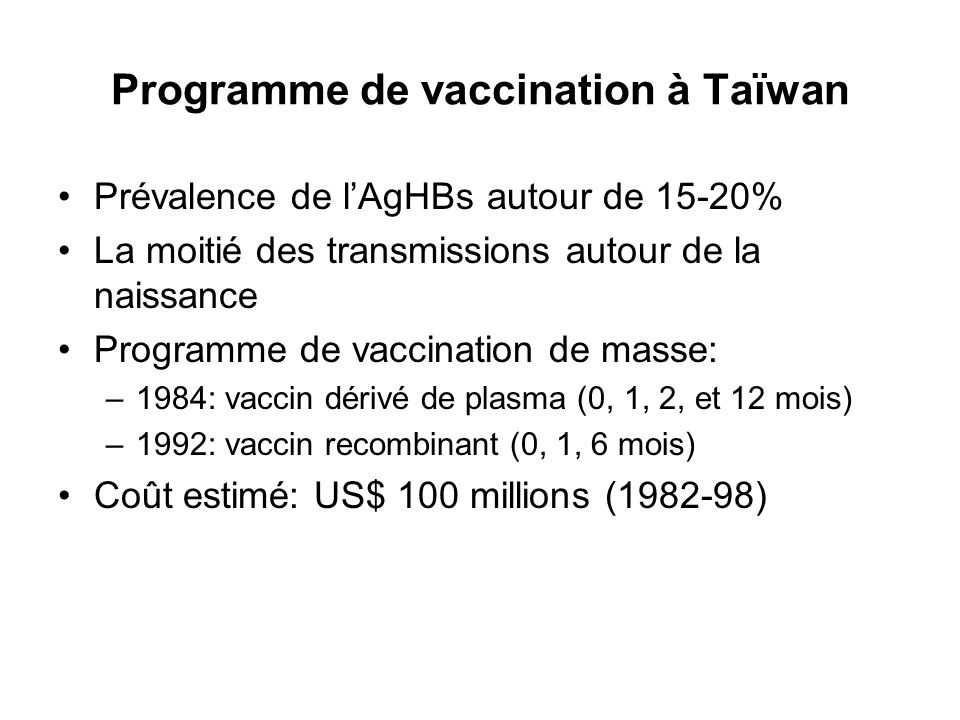 Programme de vaccination à Taïwan