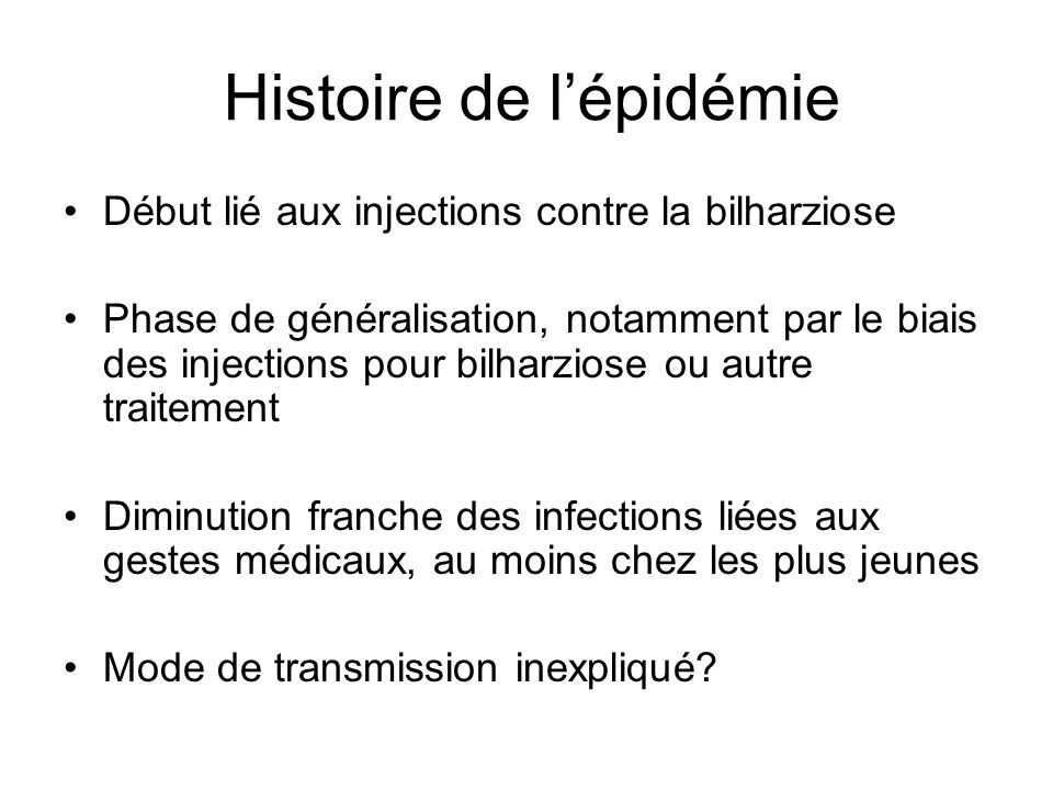 Histoire de l'épidémie