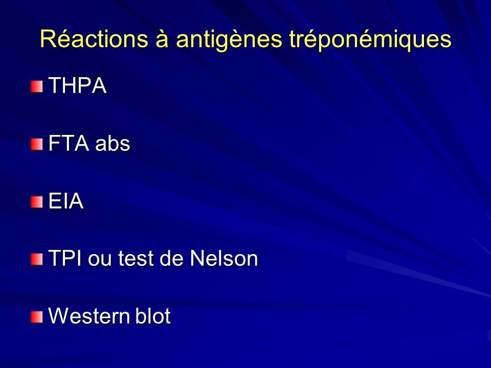 Réactions à antigènes tréponémiques