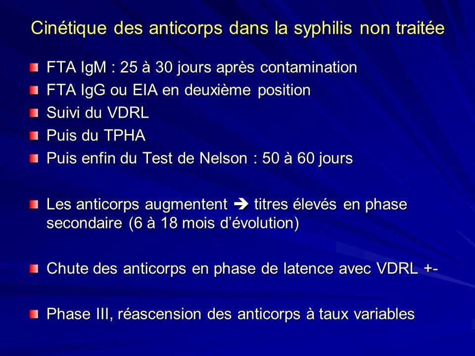 Cinétique des anticorps dans la syphilis non traitée