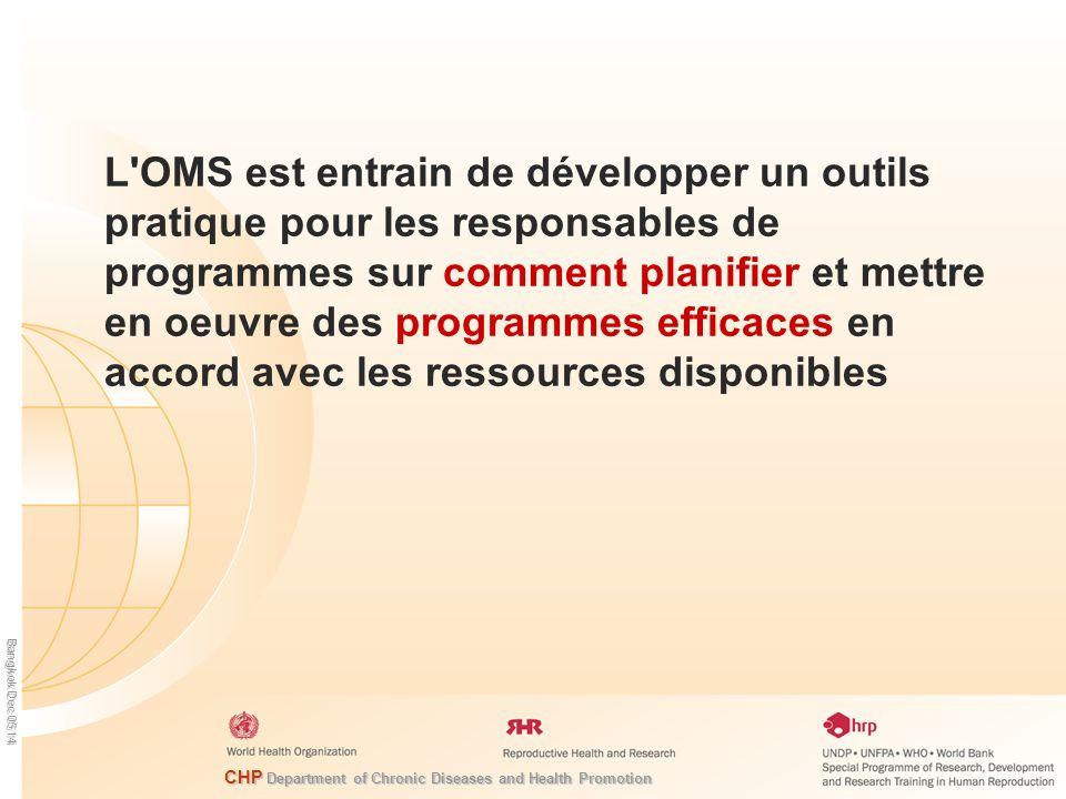 L OMS est entrain de développer un outils pratique pour les responsables de programmes sur comment planifier et mettre en oeuvre des programmes efficaces en accord avec les ressources disponibles