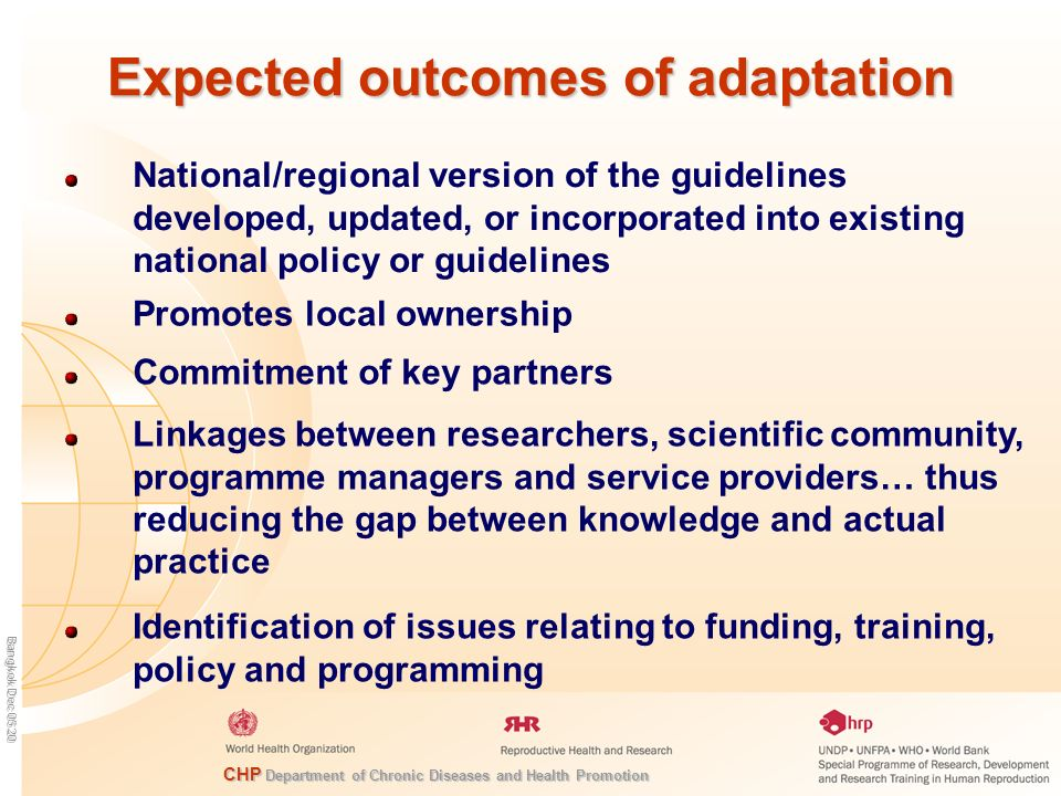 Expected outcomes of adaptation