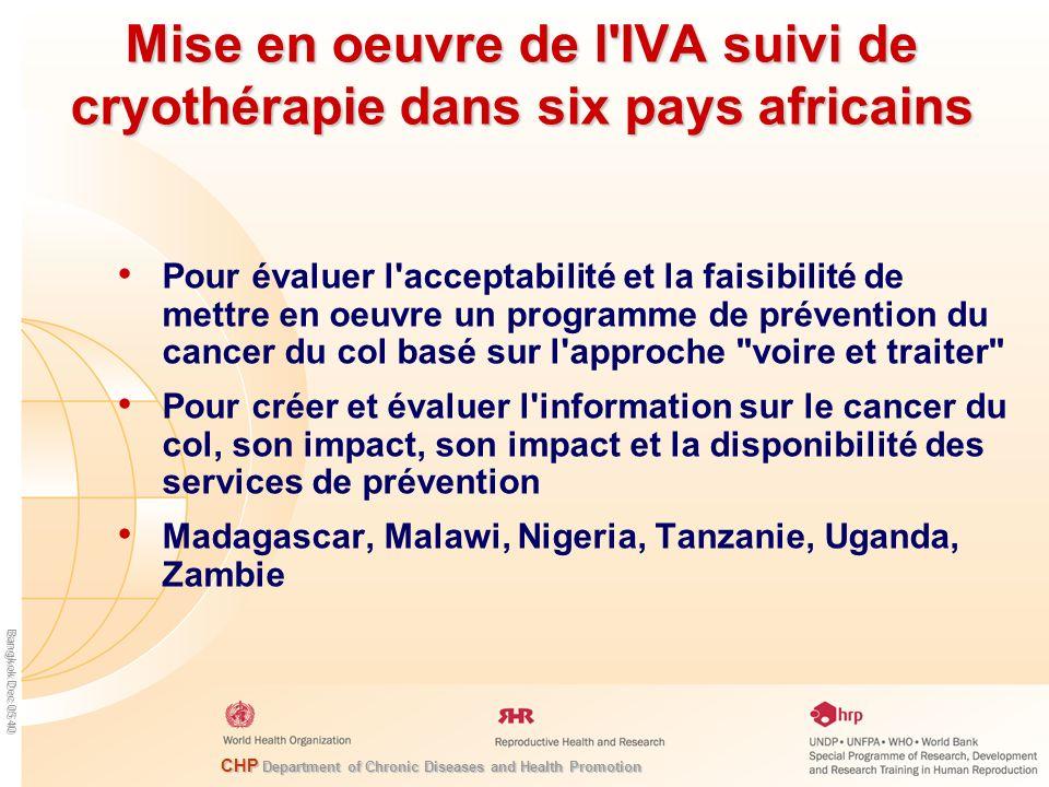 Mise en oeuvre de l IVA suivi de cryothérapie dans six pays africains