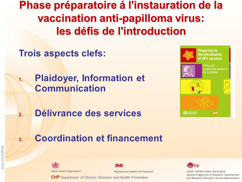 Phase préparatoire á l instauration de la vaccination anti-papilloma virus: les défis de l introduction