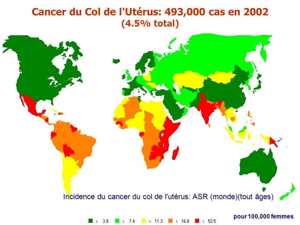 Cancer du Col de l Utérus: 493,000 cas en 2002