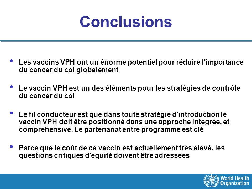 Conclusions Les vaccins VPH ont un énorme potentiel pour réduire l importance du cancer du col globalement.