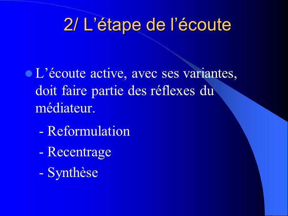 2/ L'étape de l'écoute L'écoute active, avec ses variantes, doit faire partie des réflexes du médiateur.