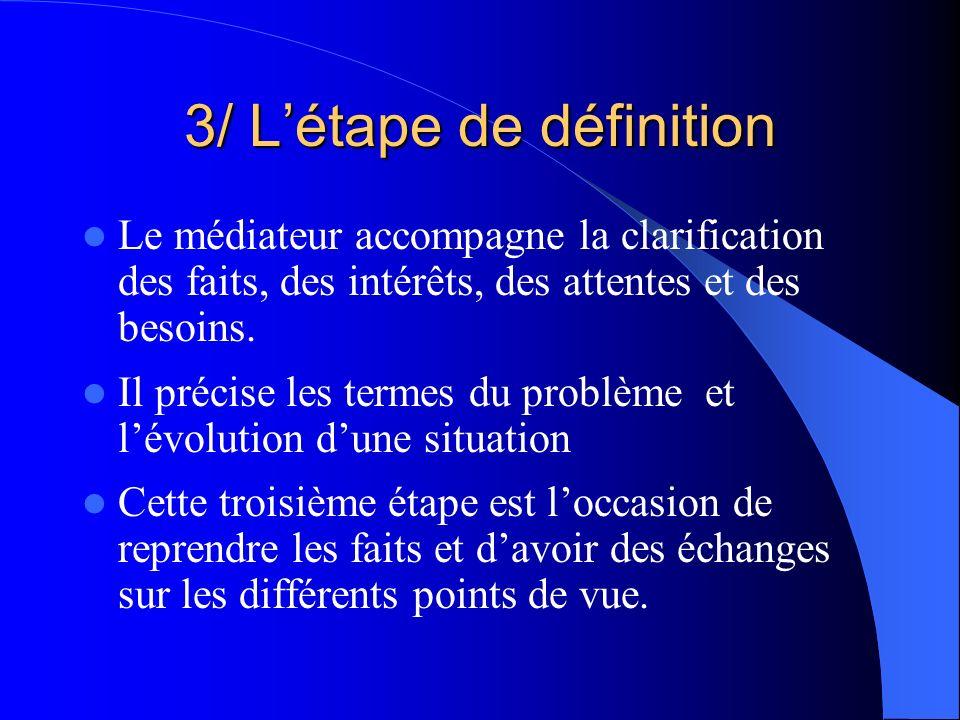 3/ L'étape de définition