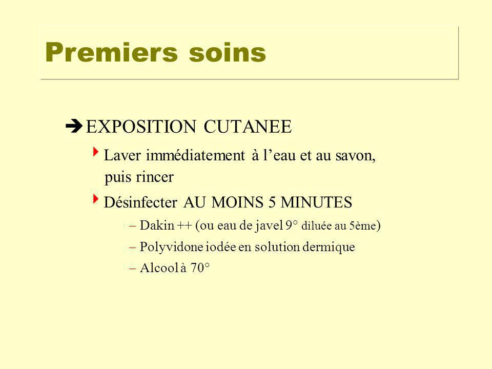 Premiers soins EXPOSITION CUTANEE