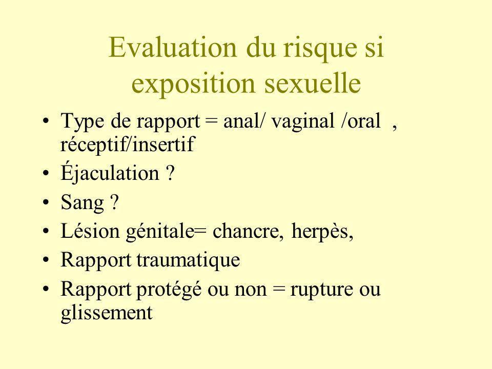 Evaluation du risque si exposition sexuelle