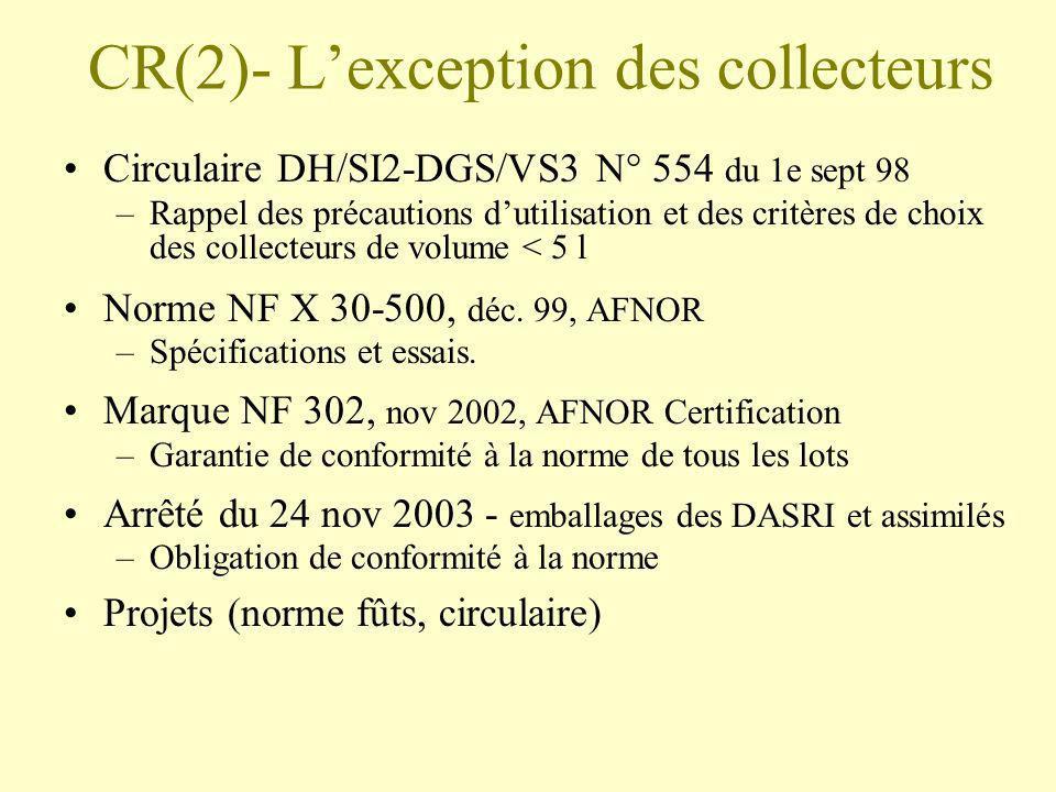 CR(2)- L'exception des collecteurs