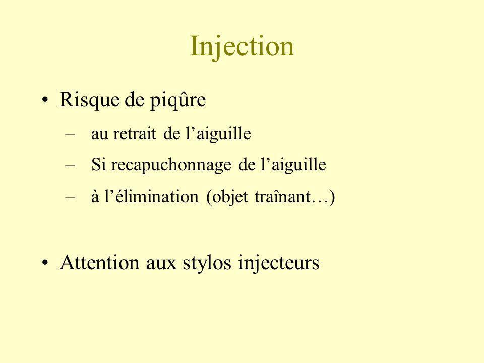 Injection Risque de piqûre Attention aux stylos injecteurs