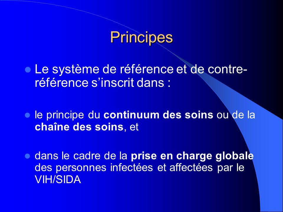 Principes Le système de référence et de contre-référence s'inscrit dans : le principe du continuum des soins ou de la chaîne des soins, et.