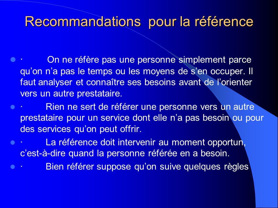 Recommandations pour la référence