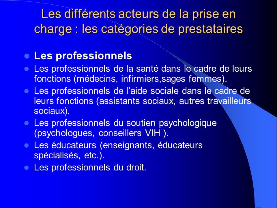 Les différents acteurs de la prise en charge : les catégories de prestataires