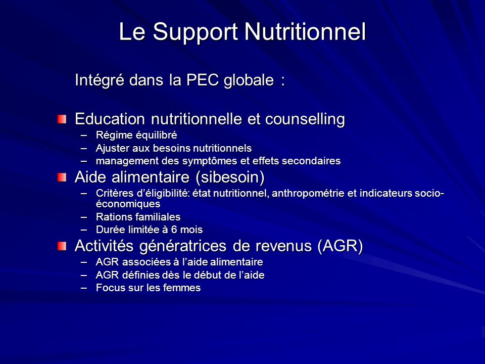 Le Support Nutritionnel
