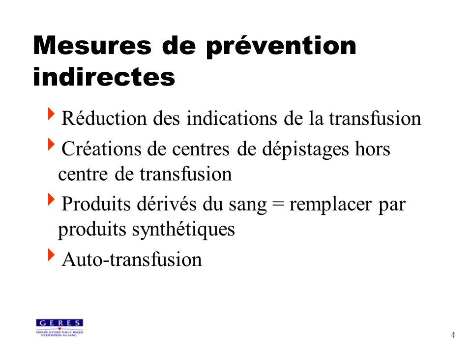 Mesures de prévention indirectes