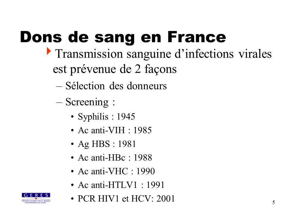 Dons de sang en FranceTransmission sanguine d'infections virales est prévenue de 2 façons. Sélection des donneurs.