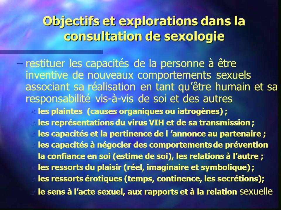 Objectifs et explorations dans la consultation de sexologie