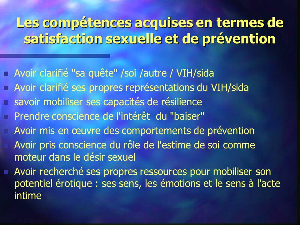 Les compétences acquises en termes de satisfaction sexuelle et de prévention