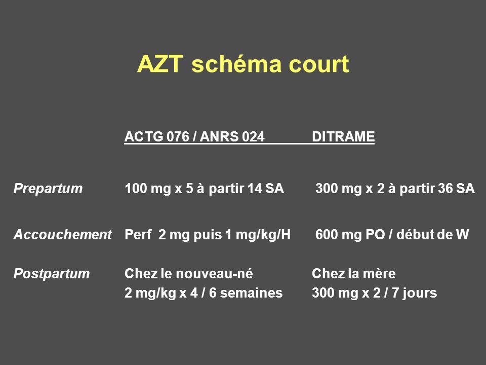 AZT schéma court ACTG 076 / ANRS 024 DITRAME