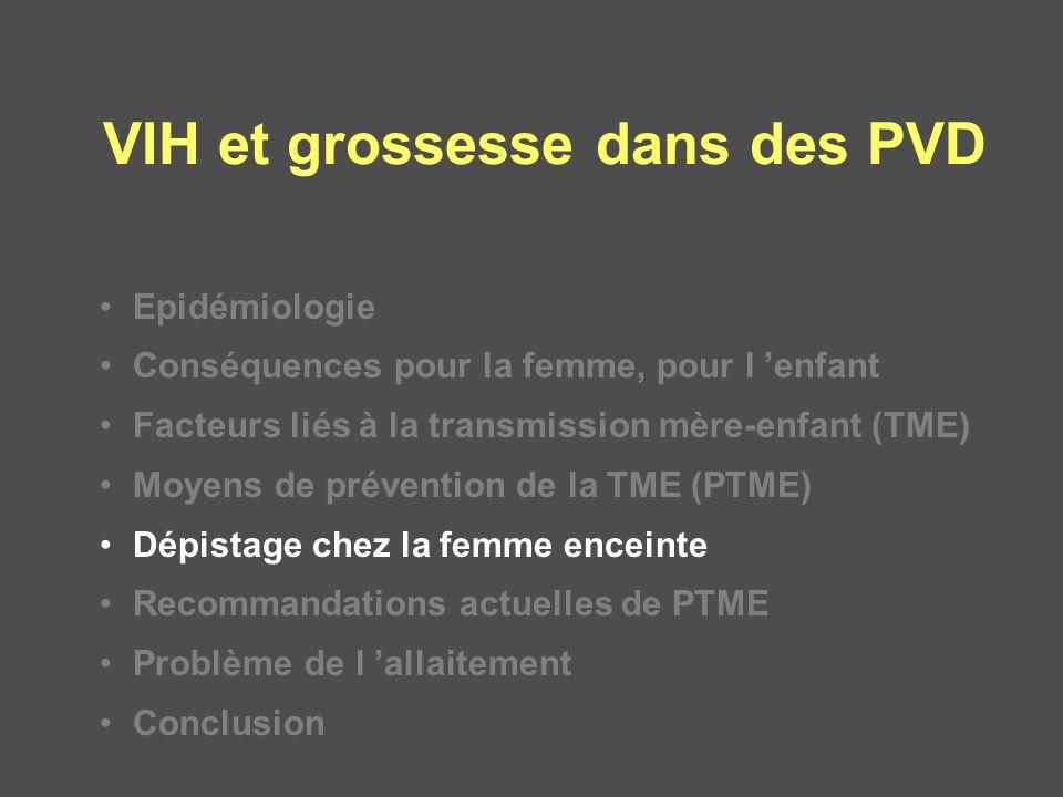 VIH et grossesse dans des PVD