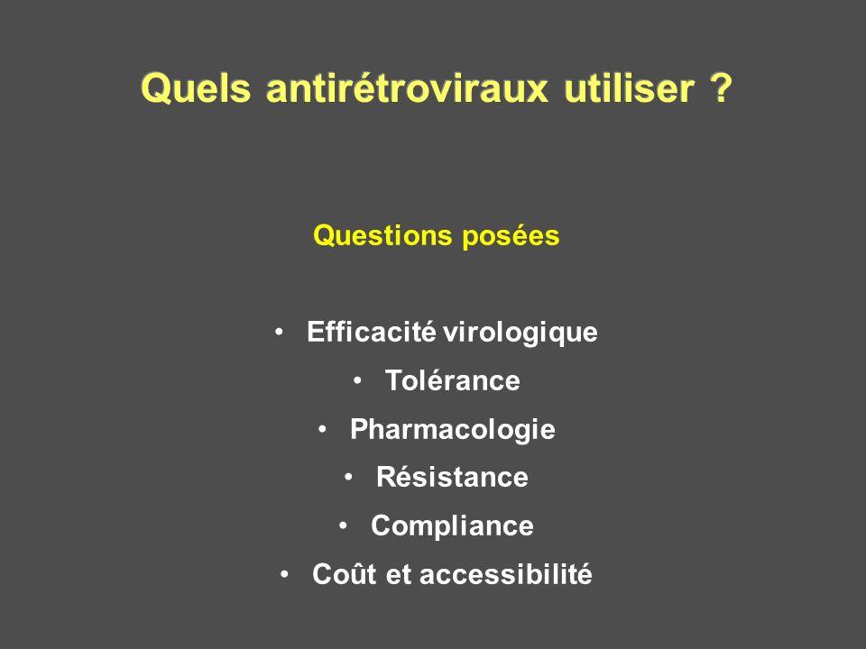 Quels antirétroviraux utiliser Efficacité virologique
