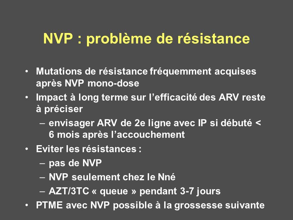 NVP : problème de résistance