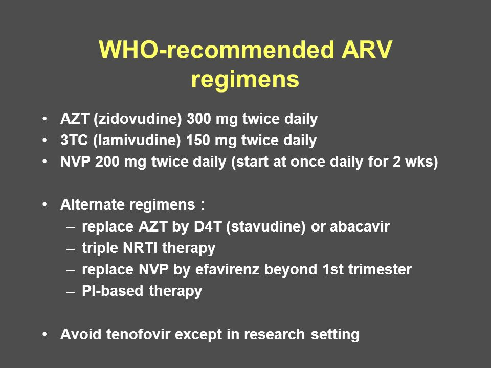 WHO-recommended ARV regimens