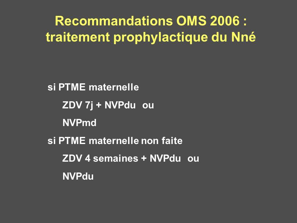 Recommandations OMS 2006 : traitement prophylactique du Nné